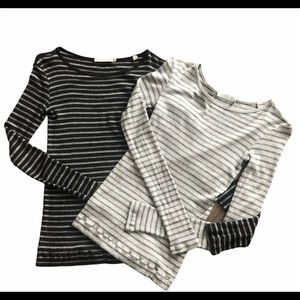 Pair of Vince Crew Neck Long Sleeve Striped Tops